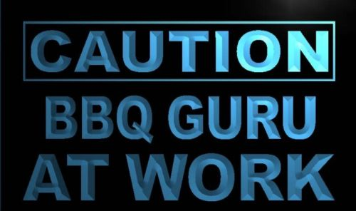 Caution BBQ Guru At Work Neon Light Sign